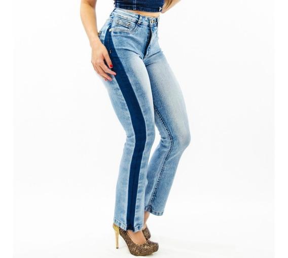 Calça Jeans Feminina Flare Boot Cut Cintura Alta Boca Sino