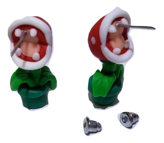 Mario Bros Planta Cute Tierno Aretes Pendiente Cute Kawaii