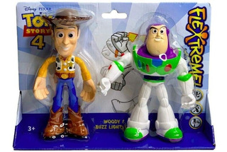 Toy Story 4 Flextreme Flexible Figuras Woody, Buzz Lightyear