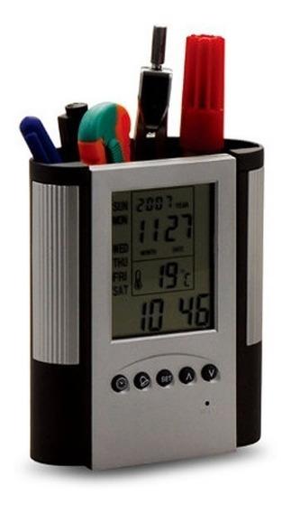 Reloj Alarma Termometro Con Caja Porta Celular | Lapicero, Estuche Para Escritorio De Oficina O Escolar Hanker Shop