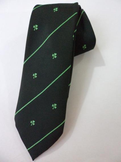 Corbata De La Suerte Color Verde Treboles Bordados Corb235