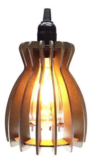 Lustre Luminaria Pendente Rustico De Madeira 15x14 Cm 018pd