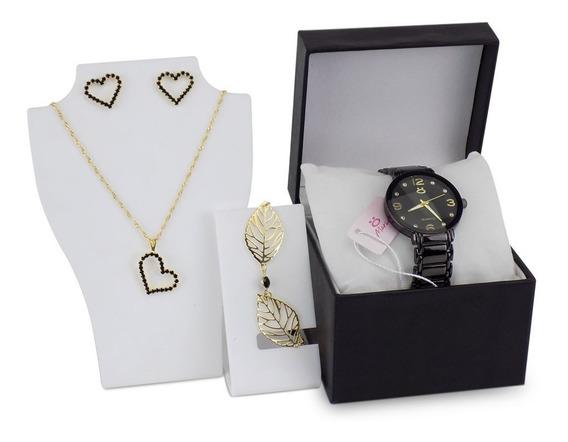 Relógio Feminino Dourado Original + Colar + Pulseira C/ Nf-e
