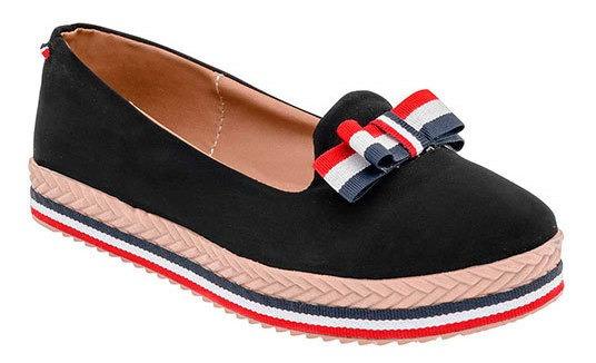 Zapato Alpargata Fiesta Sintético Mujer Negro Moño 56619 Udt