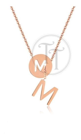 Collar Letra M Hecho En Titanio Rose Gold Plating 18k