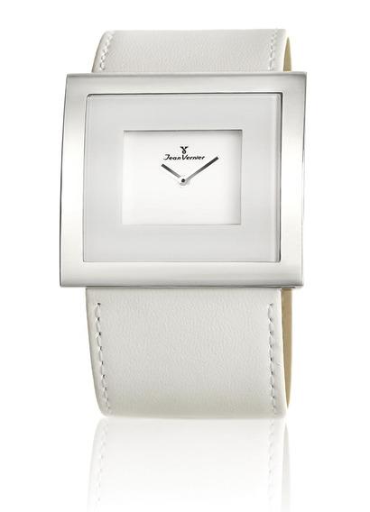 Relógio Pulso Jean Vernier Feminino Couro Branco Jv02021