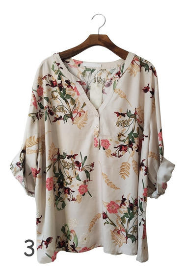 Camisa 3 Botões Feminina Viscose Estampada Moda Plus 056