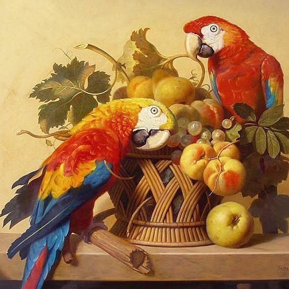 A2228 Papagaio 40*40 5d Diy Diamante Pintura Bordado Casa De