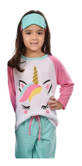 Pijama Infantil Unicórnio Raglan Longo Feminino Inverno