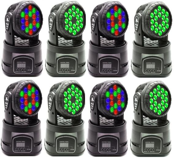 Kit 8 Min Moving Head Dmx 512 Coloridos Para Festas E Clubes