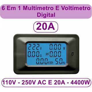 Medidor Energia 6x1 20a Amperimetro Voltimetro Wattimetro