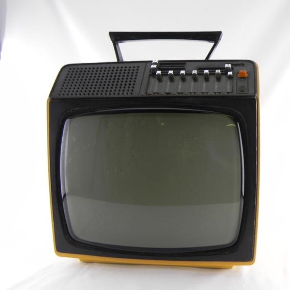 Tv Antiga Philips Branca Anos 70 Portátil P&b - Usado C/ Def