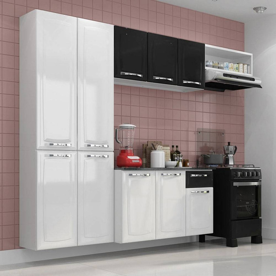 Conjunto Cozinha Itatiaia Amanda 4pcs Branco E Preto