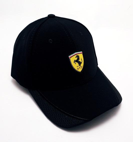 Boné Ferrari Preto Aba Curva Aberto Com Ajuste