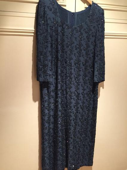 Vestido Creppe Seda Natural Bordado A Mano Azul Grisáceo T L