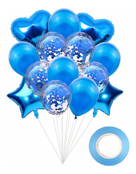 Set 14 Globos Metalizados Estrella Transparente Confetti