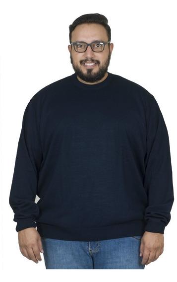 Malha Plus Size Bigshirts Gola Careca - Azul Marinho