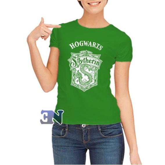 Camiseta Slytherin Sonserina Hogwarts Harry Potter Feminina