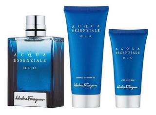 Set Caballero Ferragamo Acqua Essenziale Blue 3p Perfu 100ml