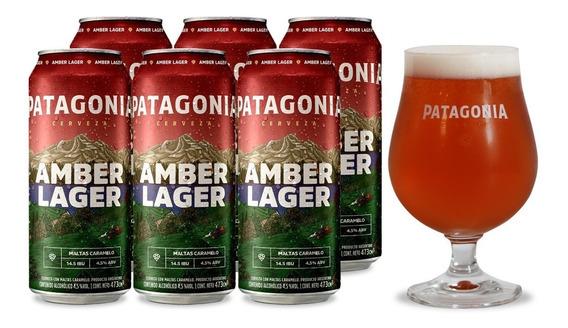 Cerveza Patagonia Amber Lager 473 Cc X 6 + Copa Tulipa