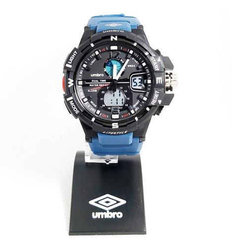 Relógio De Pulso Umbro Umb-012-5 Azul Borracha Garantia