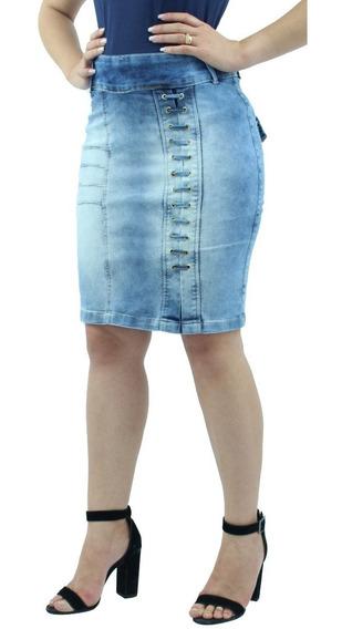 Saia Jeans Claro Com Lycra Moda Evangélica Anagrom Ref.091
