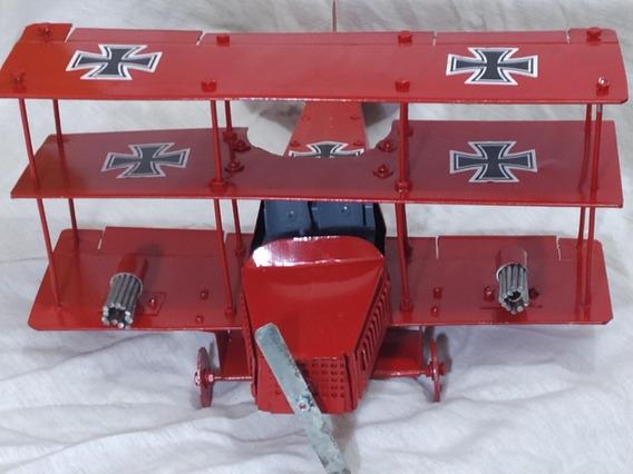 Miniatura Avião Da 1ª Guerra Mundial - Barão Vermelho Metal
