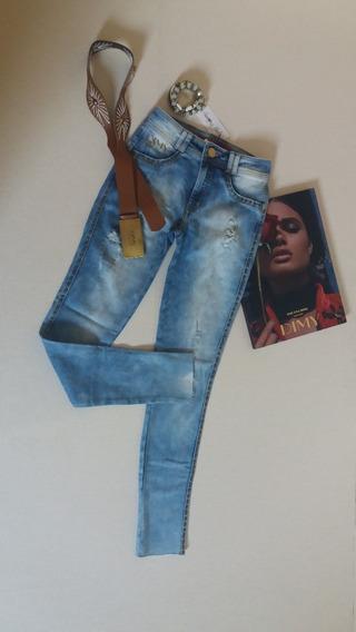 Calça Jeans Com Cinto - Dymi