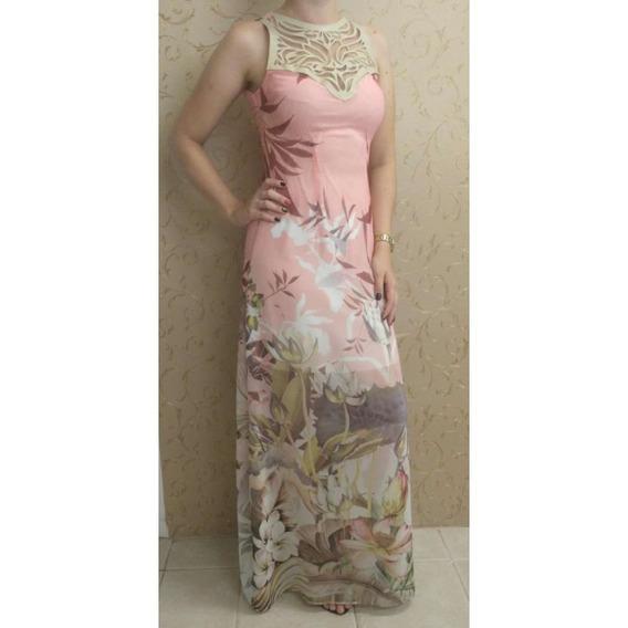 Vestido Longo Estampado Fato Basico 40076 - Rosa