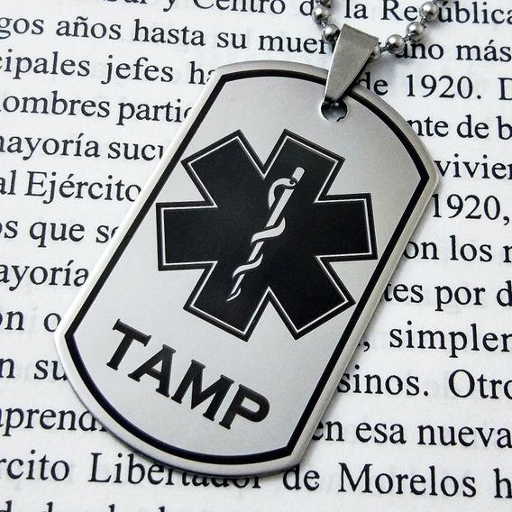 Placa Militar Dije Cadena Llavero Paramédico Estrella Vida