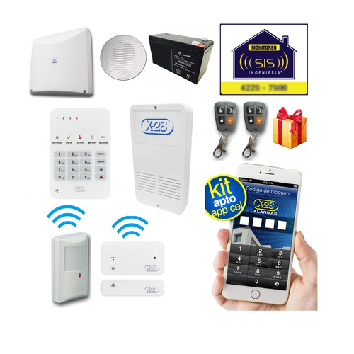 Kit Alarma Inalambrica X28 Domiciliaria Casa Llamador Gsm Apto Comando Via App Celular