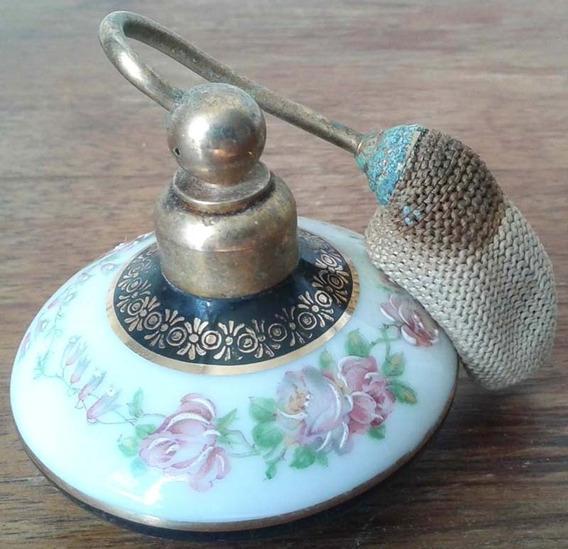Antiguo Perfumero Limoges Porcelana Atomizador Francia