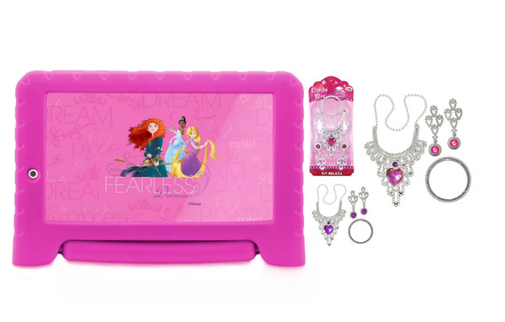Tablet Rosa Das Princesas Kid Pad Android 7 Wifi + Joias
