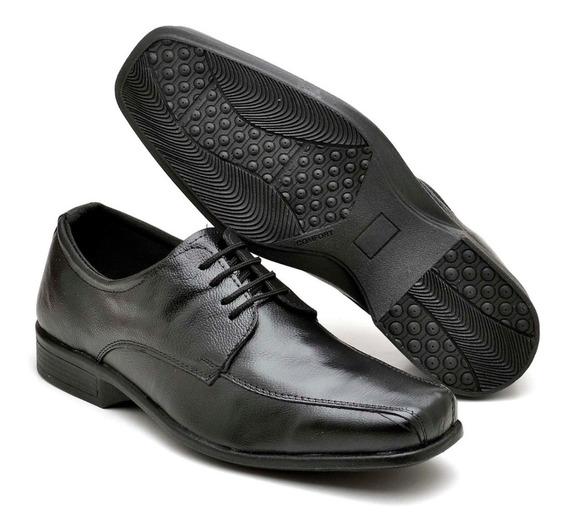 Sapato Masculino Social Bico Quadrado Couro Casual Terno