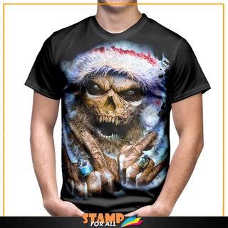 Camiseta Feliz Natal Ho Ho Ho Caveira Pai Noel Santa Claus