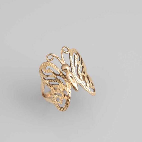 Anel Ouro 18k Borboleta Butterfly Maciço Feminino