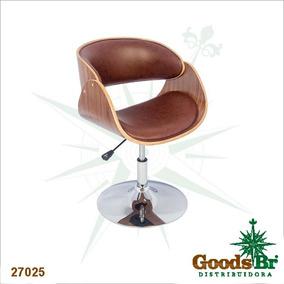 Cadeira Madeira Curva Base Cromada Pu Marrom Goodsbr 82x53x5