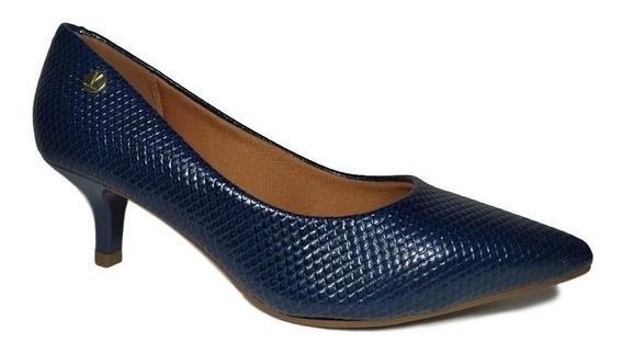 Sapato Feminino Scarpin Azul Bico Fino Animal Print Vizzano