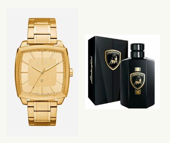Relógio Armani Masculino Dourado + Perfume Lamborghini 100ml