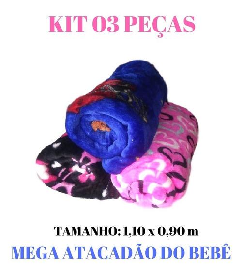 Cobertor Manta Plush Bebê Infantil Antialérgico Kit 03 Peças