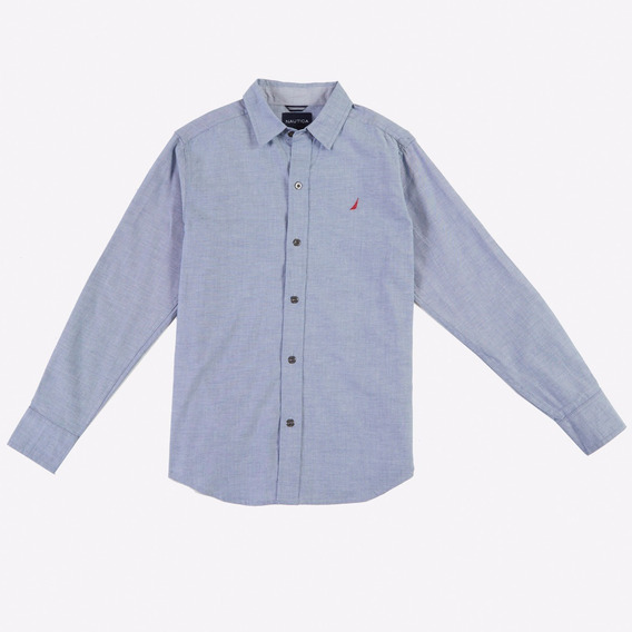 Nautica Solid Chambray Camisa Infantil Manga Larga L(14/16)