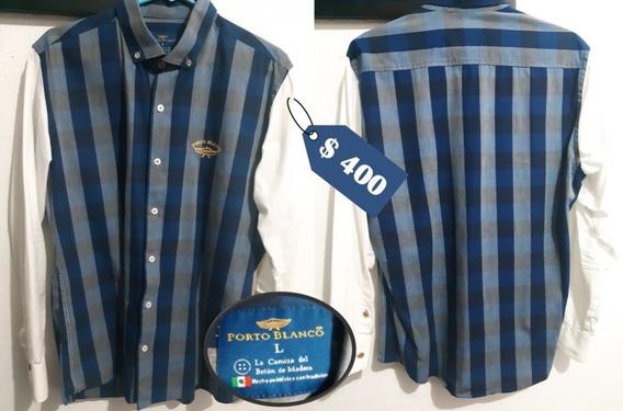 Camisa Porto Blanco Caballero Azul/gris