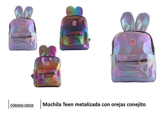 Mochila Teen Metalizada Con Orejas Conejito