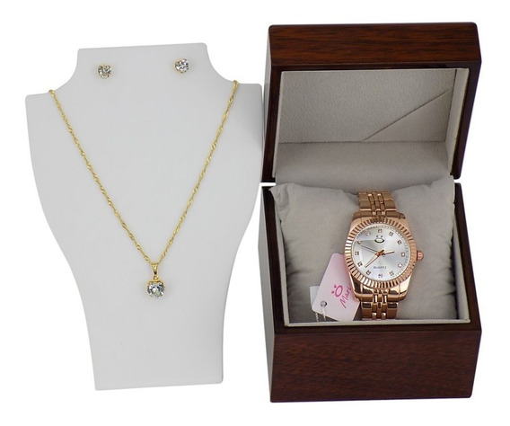 Relógio Feminino Rose Gold + Kit (colar E Brincos)