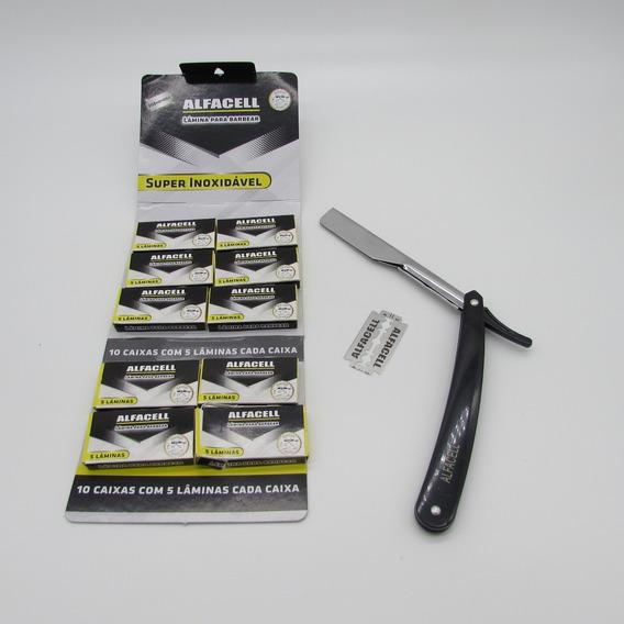 50 Lâmina Para Barbear Aço Inox + 1 Navalha Alfacell
