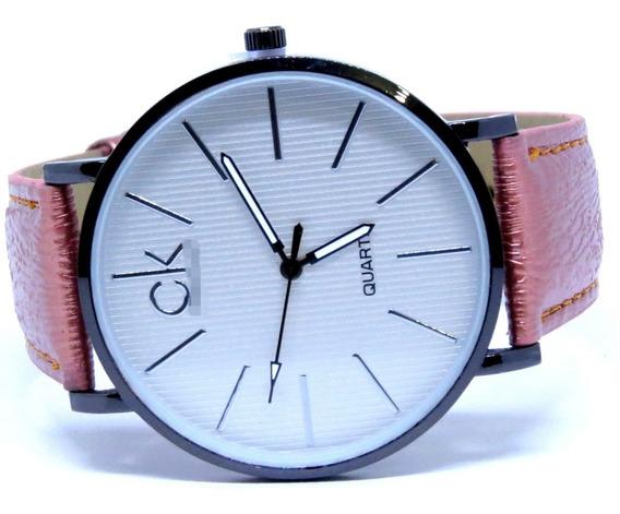 Relógio Feminino Couro Salmão Confortável Fino Luxo + Brinde