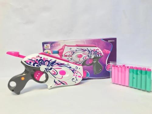 Pistola De Dardos Espuma Para Niña Rosada