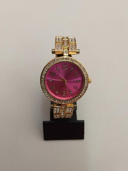 Relógio Feminino Dourado Com Rosa De Metal