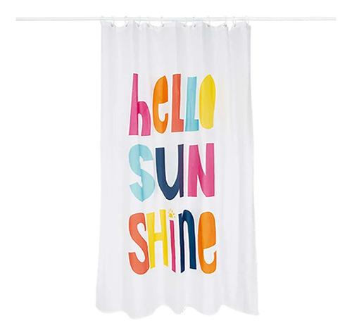 Cortina Box Banheiro Hello Sunshine C/ Gancho Facil Limpar