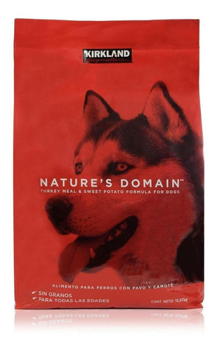 Imagen 1 de 1 de Alimento Kirkland Signature Nature's Domain para perro sabor pavo/camote en bolsa de 15.87kg